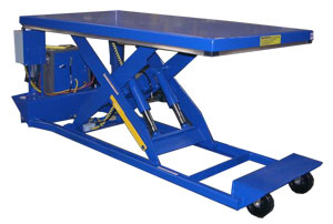 Portable scissor lift table transports heavy payload objects